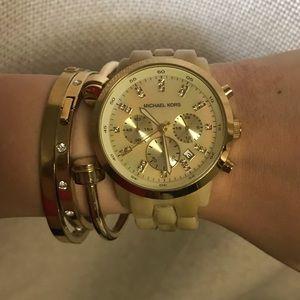 Michael Kors Horn/ Cream Watch
